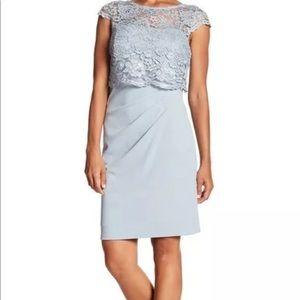 Marina Crochet Lace Pleated Blue Dress Size 12
